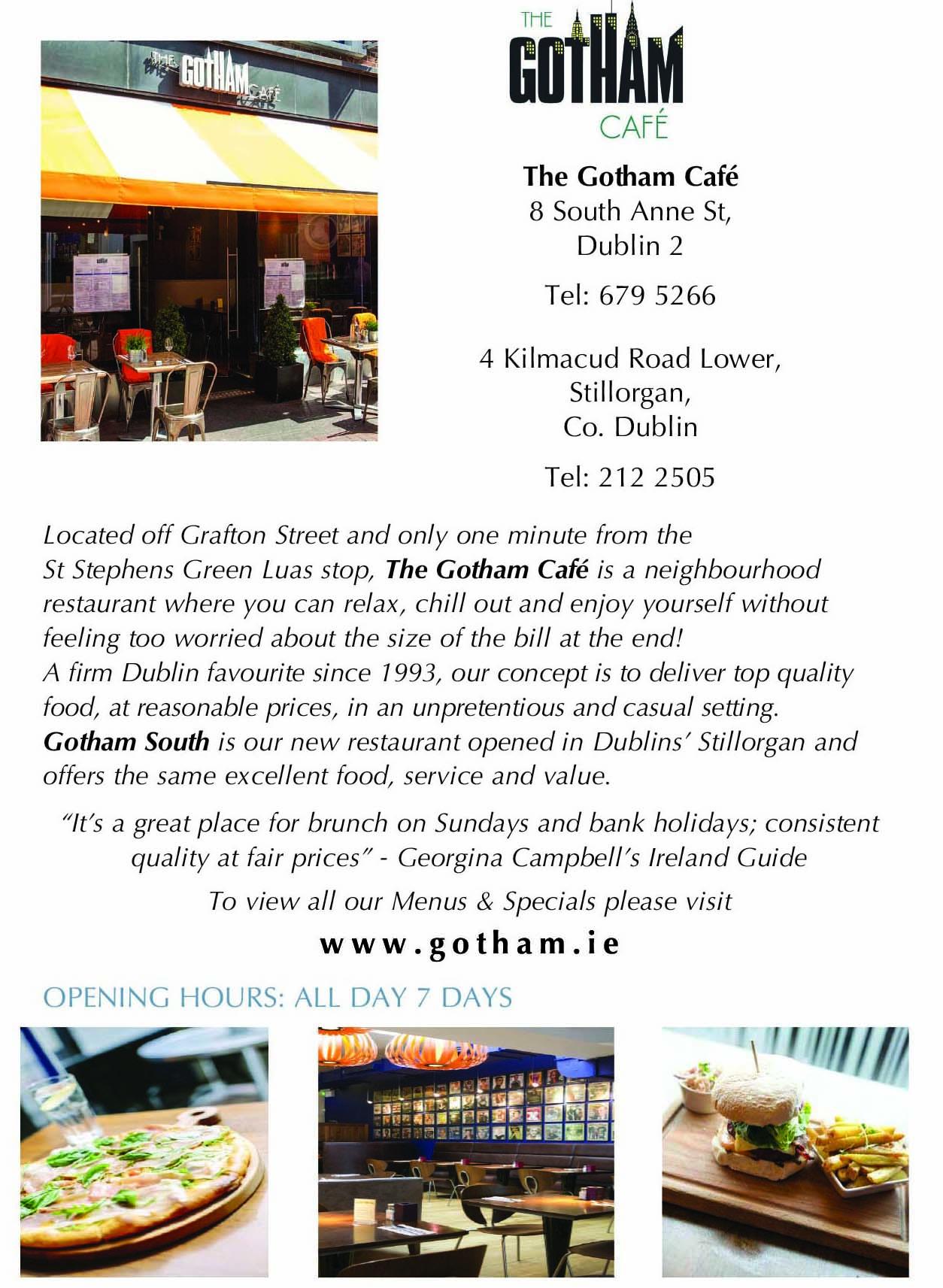 Gotham City Cafe Menu